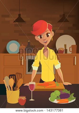 Healthy food, cartoon woman cooking in the modern kitchen. Fruits and Vegies. Vector flat illustration.