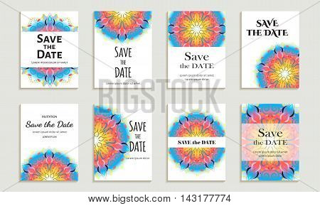 Set of cards save the date. Template with bright color circular pattern on white background. Vector illustration for corporate identity individual cards form style.