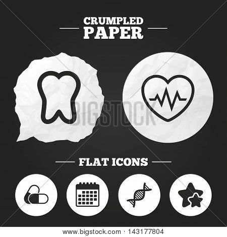 Crumpled paper speech bubble. Maternity icons. Pills, tooth, DNA and heart cardiogram signs. Heartbeat symbol. Deoxyribonucleic acid. Dental care. Paper button. Vector
