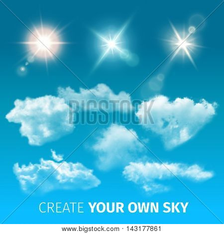 Create sky realistic clouds icon set with isolated and colored clouds and sun rays vector illustration