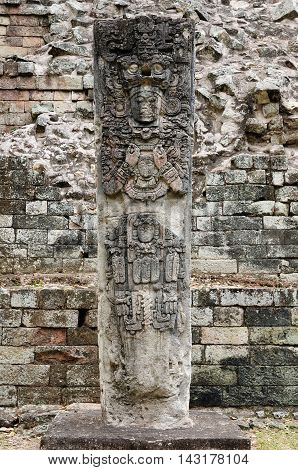 Central America Honduras Mayan city ruins in Copan. The picture presents detail of the Stela