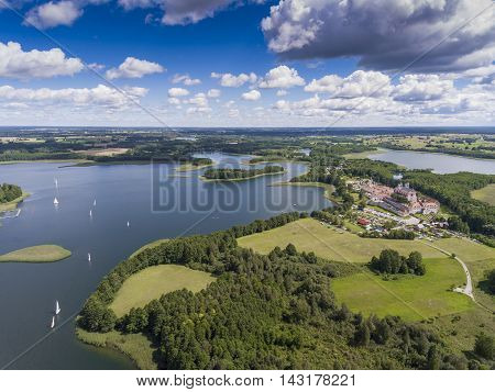 Lake Wigry National Park. Suwalszczyzna, Poland. Blue Water And Whites Clouds. Summer Time. View Fro