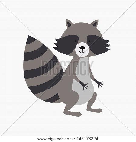 Charming humorous raccoon. Raccoon funny cartoon pet.