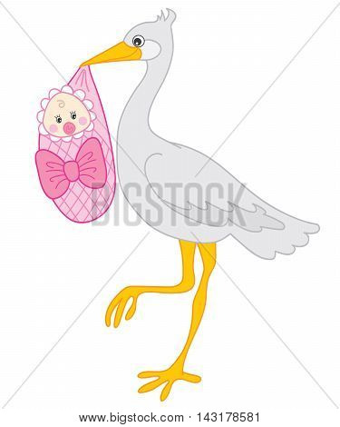 Vector cute grey stock with baby girl