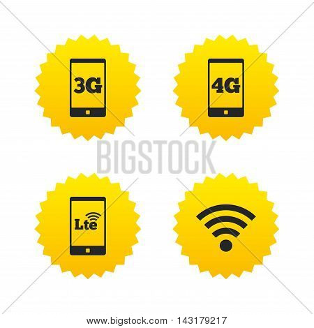 Mobile telecommunications icons. 3G, 4G and LTE technology symbols. Wi-fi Wireless and Long-Term evolution signs. Yellow stars labels with flat icons. Vector