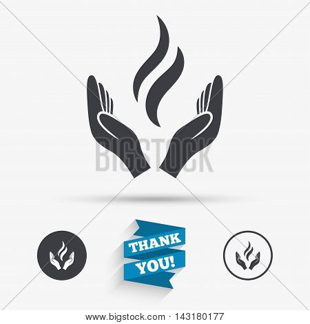 Energy hands sign icon. Power from hands symbol. Flat icons. Buttons with icons. Thank you ribbon. Vector