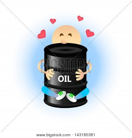 Oil dependence problem concept. Economic and ecological problem. A man in love with oil a person hugging barrel. Flat style vector illustration.