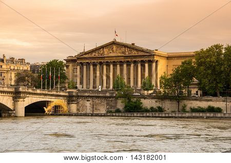 The building of Assemblee Nationale (Palais Bourbon) - the French Parliament in Paris France