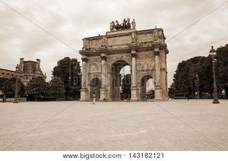 Arc de Triomphe du Carrousel outside of Louvre in Paris France