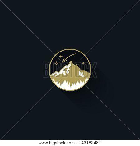 Flat vector emblem of lone mountain. Circle badge. Vintage logo design template