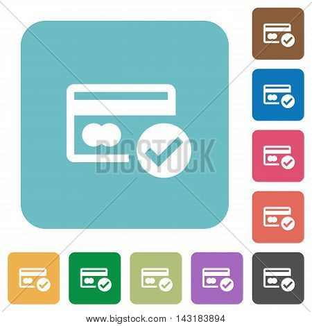 Flat credit card verified icons on rounded square color backgrounds.