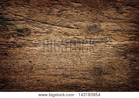 Old wooden boards background full of wood worm holes. Hard wood plank wall.