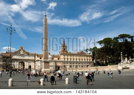 ROME, ITALY, MAY 09, 2012:  Tourists visiting the Piazza del Popolo in Rome one of major squares of the city