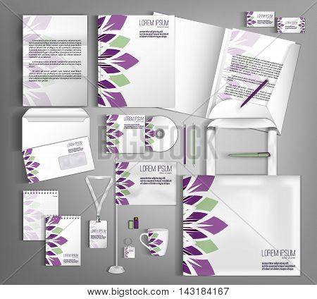 Trendy geometric corporate identity template design with  geometric elements. Modern abstract business set stationery.
