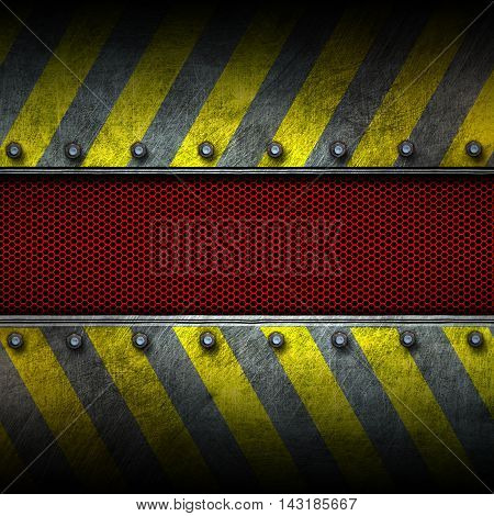 grunge metal and red mesh with yellow painted. safety zone. 3d illustration. background and texture.