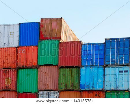 Stack of Cargo Containers at the Docks ready for Shipping