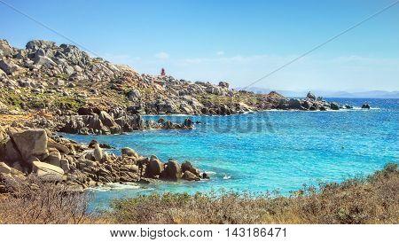 Panoramic view of the uninhabited Lavezzi islands near Bonifacio Corsica France