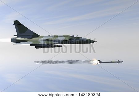A jetfighter armed with rockets in use. (3d rendering)
