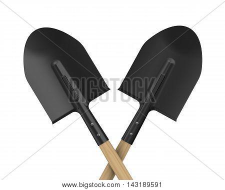 Shovels. The pointed shovels. Isolated. 3D Illustration