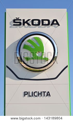 CIRCA AUGUST 2016 - GDANSK: Logo of Skoda. Skoda Auto is Czech automobile manufacturer founded in 1895 as Laurin and Klement. It is headquartered in Mlada Boleslav, Czech Republic.