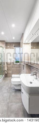 Spacious Beige Bathroom