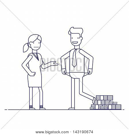 Man cheating woman. Businessman with lots of money evades payment. Financial fraud. Greedy man in trousers and shirt. False bankruptcy. Thin line vector illustration in flat style