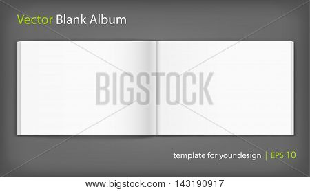 Vector blank of open album on neutral grey background. Using mesh. Template