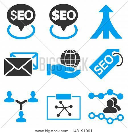 Seo vector icons. Pictogram style is bicolor blue and gray flat icons with rounded angles on a white background.