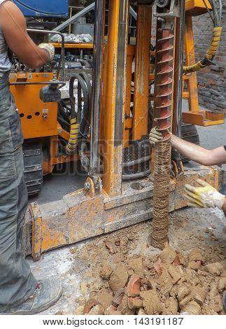 self-propelled drilling for geological surveys the land