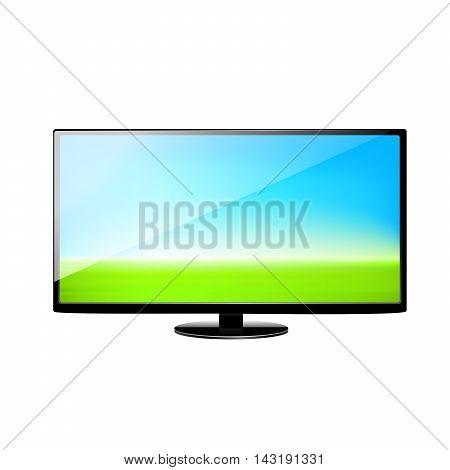Flat screen TV vector illustration on white background.
