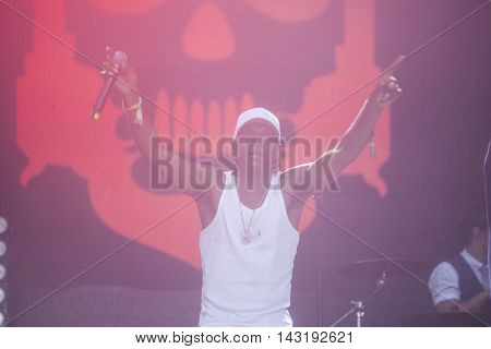 Bontida, Romania - July 16, 2016: Dub Pistols performs live at Electric Castle festival, one of the biggest music festivals in Romania