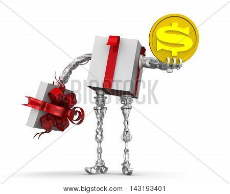 Money - the best gift. Concept with the US dollar. Open gift box (with hands and feet) holding a gold coin with the symbol of the American dollar. Isolated. 3D Illustration
