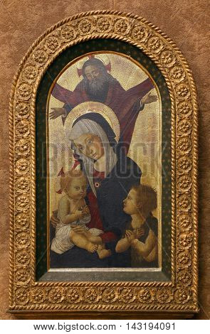 ZAGREB, CROATIA - DECEMBER 08: Pseudo Pier Francesco Fiorentino: God the Father blesses the Virgin and Child with St. John, Old Masters Collection, Croatian Academy of Sciences, Dec 08, 2014 in Zagreb