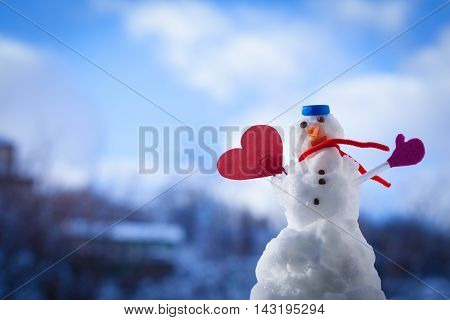 Little Happy Christmas Snowman Red Heart Love Symbol Outdoor. Winter.