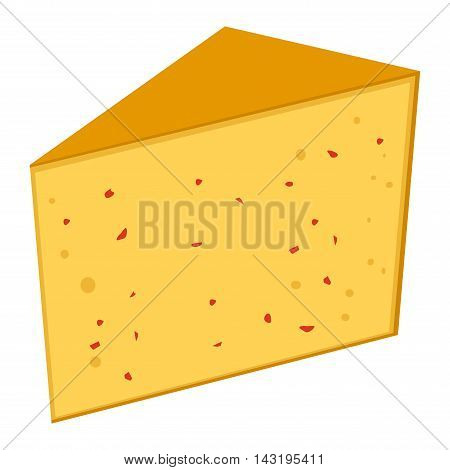 Delicious fresh cheese variety icon flat set isolated vector illustration. Dairy cheese varieties food and milk camembert piece cheese varieties. Different delicatessen cheese varietie