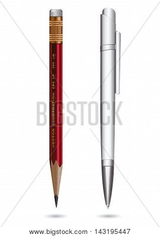 Ball pen and red pencil isolated on a white background. Vector illustration