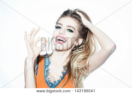 Happy Beautiful Young Woman Isolated On The White