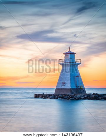 Lighthouse located in Southampton Ontario Canada photographed at sunset.