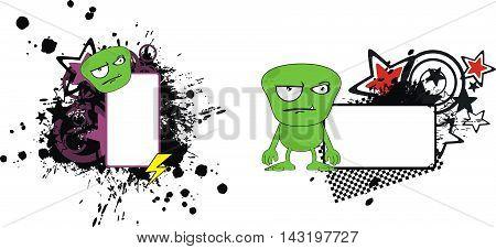 funny green monster cartoon copyspace set in vector format very easy to edit
