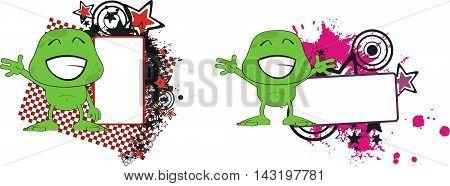 green monster cartoon copyspace set in vector format very easy to edit