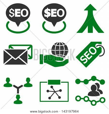 Seo vector icons. Pictogram style is bicolor green and gray flat icons with rounded angles on a white background.