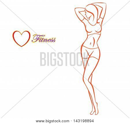 sketch sketch logo advertising campaign on the theme of sports fitness beauty active lifestyle silhouette of slim beautiful sports girl on@ a white background drawing of beautiful elegant silhouette of a young woman perfect figure dLogo image or icon of b