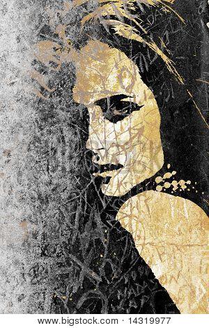 Woman Graffiti On An Ancient Wall