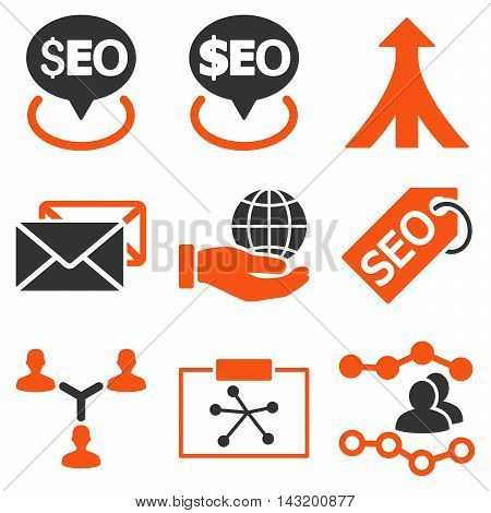 Seo vector icons. Pictogram style is bicolor orange and gray flat icons with rounded angles on a white background.