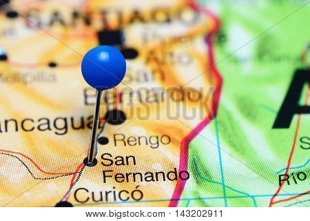 San Fernando pinned on a map of Chile