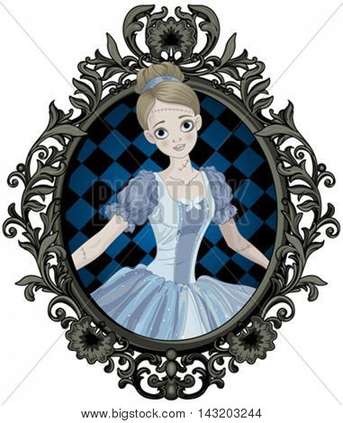 Illustration of Halloween Cinderella into picture frame