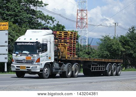 CHIANGMAI THAILAND -JULY 27 2016: Hino Trailer Cargo truck of Boon Prasong Transport. On road no.1001 8 km from Chiangmai Business Area.