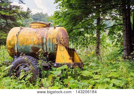 Large old yellow watering and milk barrel water tank on wheels stay in forest among plants