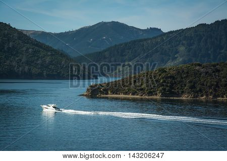 Marlborough Sounds Seen From Ferry From Wellington To Picton, New Zealand