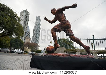 Buenos Aires Argentina - Jun 28 2016: The sculpture of the soccer star Lionel Messi at the Paseo de la Gloria in Buenos Aires.
